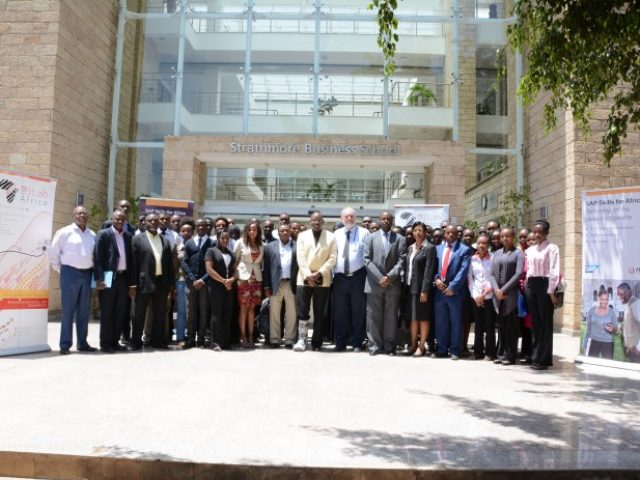 Strathmore University, SAP and Kenya's Ministry of ICT Officials  pose with strathmore's faculty of IT students. The University is enriching the program to train latest technologies